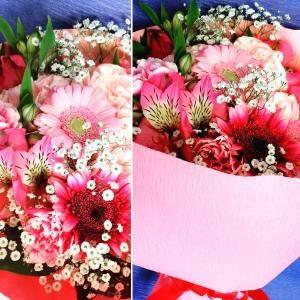 可愛いピンクの花束。